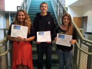 Haley Almarode (l), Jonathan Thomas, and Zoe Helmandollar (r) received scholarships from Project Discovery
