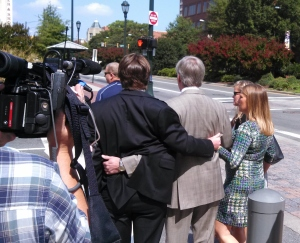 Former Gov. Bob McDonnell leaves the courthouse with his children.