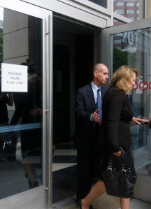 Nanette Bolt leaves the courthouse after testifying.