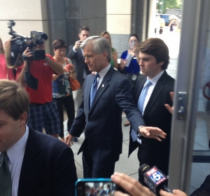 Former Governor Bob McDonnell and son leave the courthouse.