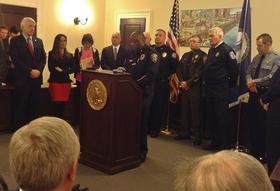 Chesapeake Police Chief Kelvin Wright speaks in support of the bills.