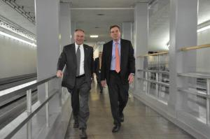 Photo from Senator Mark Warner's Twitter account. Senators Tim Kaine and Mark Warner on their way to take oath.