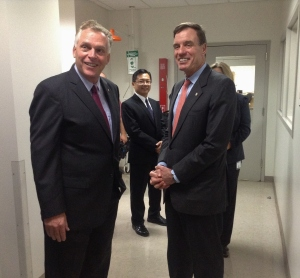 Governor McAuliffe and Senator Warner tour the Central Lab