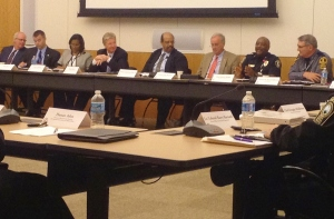 (Second from right) Chesapeake Police Chief Kelvin Wright  explains how his agency uses body-worn cameras.