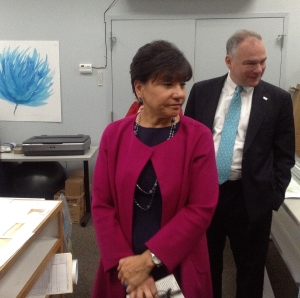 U.S. Sec. of Commerce Penny Pritzker and U.S. Sen Tim Kaine tour the World Art Center after the roundtable discussion.