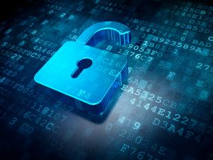 Security concept: blue opened padlock on digital background, 3d render
