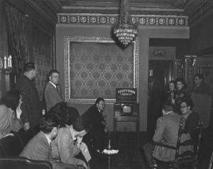 Richmonders get their first look at a Crosely TV set in the lobby of the Byrd Theater.