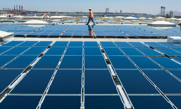 Rooftop PV panel installation
